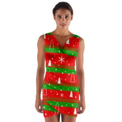 Xmas Pattern Wrap Front Bodycon Dress by Valentinaart
