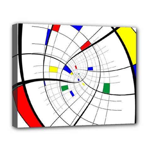 Swirl Grid With Colors Red Blue Green Yellow Spiral Deluxe Canvas 20  X 16   by designworld65