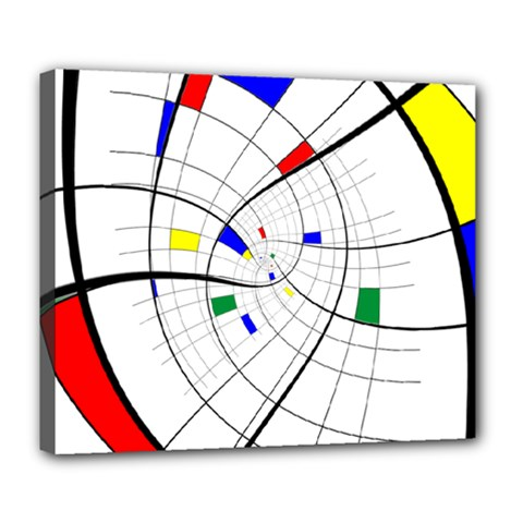 Swirl Grid With Colors Red Blue Green Yellow Spiral Deluxe Canvas 24  X 20   by designworld65
