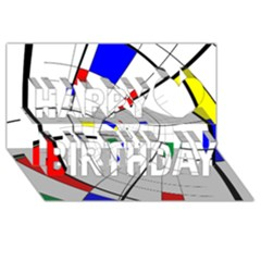 Swirl Grid With Colors Red Blue Green Yellow Spiral Happy Birthday 3d Greeting Card (8x4)