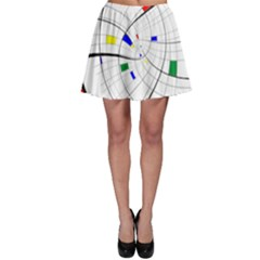 Swirl Grid With Colors Red Blue Green Yellow Spiral Skater Skirt by designworld65