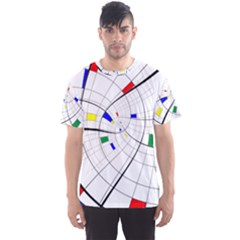 Swirl Grid With Colors Red Blue Green Yellow Spiral Men s Sport Mesh Tee by designworld65