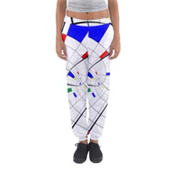Swirl Grid With Colors Red Blue Green Yellow Spiral Women s Jogger Sweatpants by designworld65