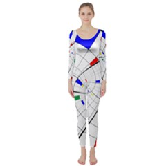 Swirl Grid With Colors Red Blue Green Yellow Spiral Long Sleeve Catsuit by designworld65