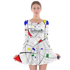 Swirl Grid With Colors Red Blue Green Yellow Spiral Long Sleeve Skater Dress by designworld65