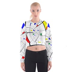 Swirl Grid With Colors Red Blue Green Yellow Spiral Women s Cropped Sweatshirt by designworld65