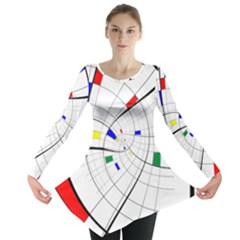 Swirl Grid With Colors Red Blue Green Yellow Spiral Long Sleeve Tunic  by designworld65