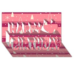 Pink Xmas Happy Birthday 3d Greeting Card (8x4) by Valentinaart