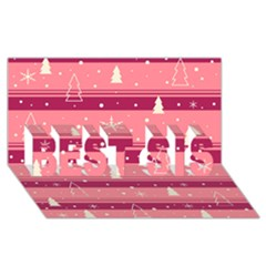Pink Xmas Best Sis 3d Greeting Card (8x4) by Valentinaart