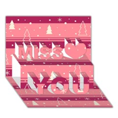 Pink Xmas Miss You 3d Greeting Card (7x5)