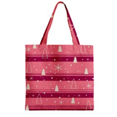 Pink Xmas Zipper Grocery Tote Bag by Valentinaart