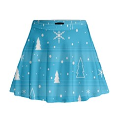 Blue Xmas Mini Flare Skirt by Valentinaart