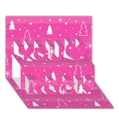 Magenta Xmas You Rock 3d Greeting Card (7x5) by Valentinaart