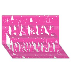 Magenta Xmas Happy New Year 3d Greeting Card (8x4) by Valentinaart