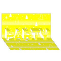Yellow Xmas Party 3d Greeting Card (8x4)