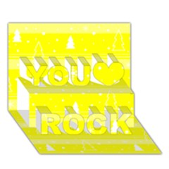 Yellow Xmas You Rock 3d Greeting Card (7x5) by Valentinaart