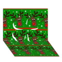 Reindeer Pattern Clover 3d Greeting Card (7x5)