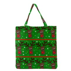 Reindeer Pattern Grocery Tote Bag by Valentinaart
