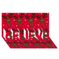 Reindeer Xmas Pattern Believe 3d Greeting Card (8x4)