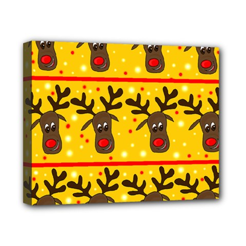 Christmas Reindeer Pattern Canvas 10  X 8  by Valentinaart