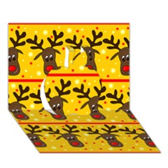 Christmas Reindeer Pattern Apple 3d Greeting Card (7x5) by Valentinaart