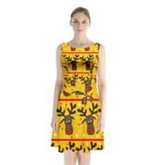 Christmas Reindeer Pattern Sleeveless Chiffon Waist Tie Dress by Valentinaart