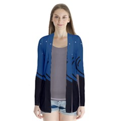 Abstract Night Landscape Drape Collar Cardigan by Valentinaart