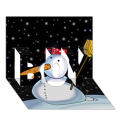 Lonely Snowman Boy 3d Greeting Card (7x5) by Valentinaart