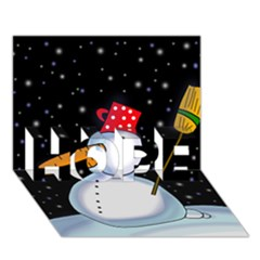 Lonely Snowman Hope 3d Greeting Card (7x5) by Valentinaart