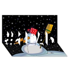 Lonely Snowman #1 Dad 3d Greeting Card (8x4) by Valentinaart