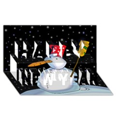 Lonely Snowman Happy New Year 3d Greeting Card (8x4) by Valentinaart