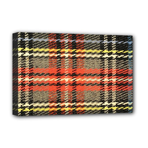 Fabric Texture Tartan Color  Deluxe Canvas 18  X 12   by AnjaniArt