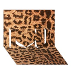Leopard Print Animal Print Backdrop I Love You 3d Greeting Card (7x5) by AnjaniArt