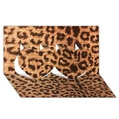 Leopard Print Animal Print Backdrop Twin Hearts 3d Greeting Card (8x4) by AnjaniArt