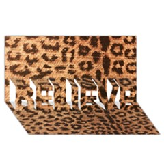 Leopard Print Animal Print Backdrop Believe 3d Greeting Card (8x4) by AnjaniArt