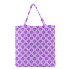 Pastel Pink Mod Circles Grocery Tote Bag by BrightVibesDesign