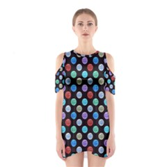 Death Star Polka Dots In Multicolour Cutout Shoulder Dress by fashionnarwhal