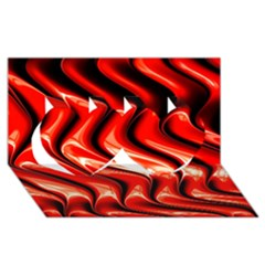 Red Fractal  Mathematics Abstact Twin Hearts 3d Greeting Card (8x4) by AnjaniArt