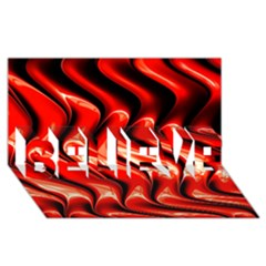Red Fractal  Mathematics Abstact Believe 3d Greeting Card (8x4) by AnjaniArt