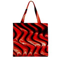 Red Fractal  Mathematics Abstact Zipper Grocery Tote Bag by AnjaniArt