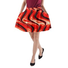 Red Fractal  Mathematics Abstact A-line Pocket Skirt