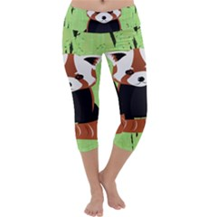 Red Panda Bamboo Firefox Animal Capri Yoga Leggings