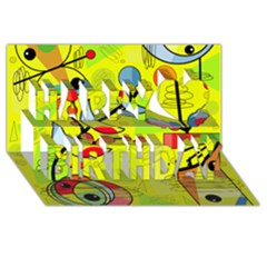 Happy Day   Yellow Happy Birthday 3d Greeting Card (8x4) by Valentinaart