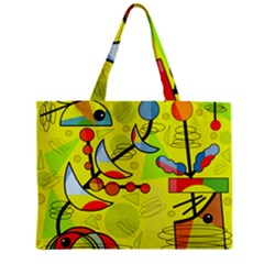Happy Day   Yellow Zipper Mini Tote Bag by Valentinaart