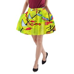 Happy Day   Yellow A Line Pocket Skirt by Valentinaart