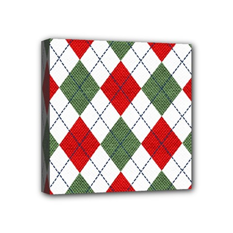 Red Green White Argyle Navy Mini Canvas 4  X 4  by AnjaniArt