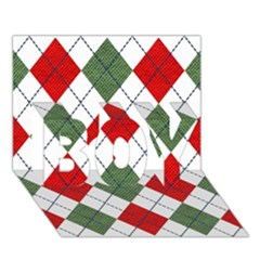 Red Green White Argyle Navy Boy 3d Greeting Card (7x5)