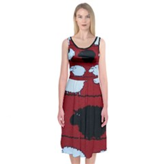 Sheep Pattern Midi Sleeveless Dress