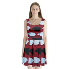 Sheep Pattern Split Back Mini Dress  by AnjaniArt