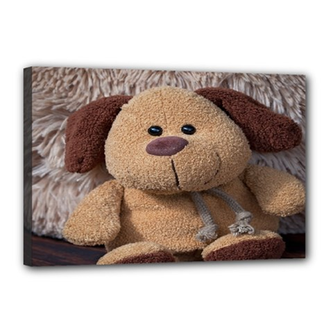 Stuffed Animal Fabric Dog Brown Canvas 18  X 12  by AnjaniArt